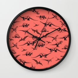 Dinosaurs on Coral Background Wall Clock