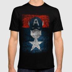 Yankee Captain grunge superhero MEDIUM Black Mens Fitted Tee