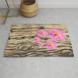 Rough Wood and Flowering Pink Flowers Rug