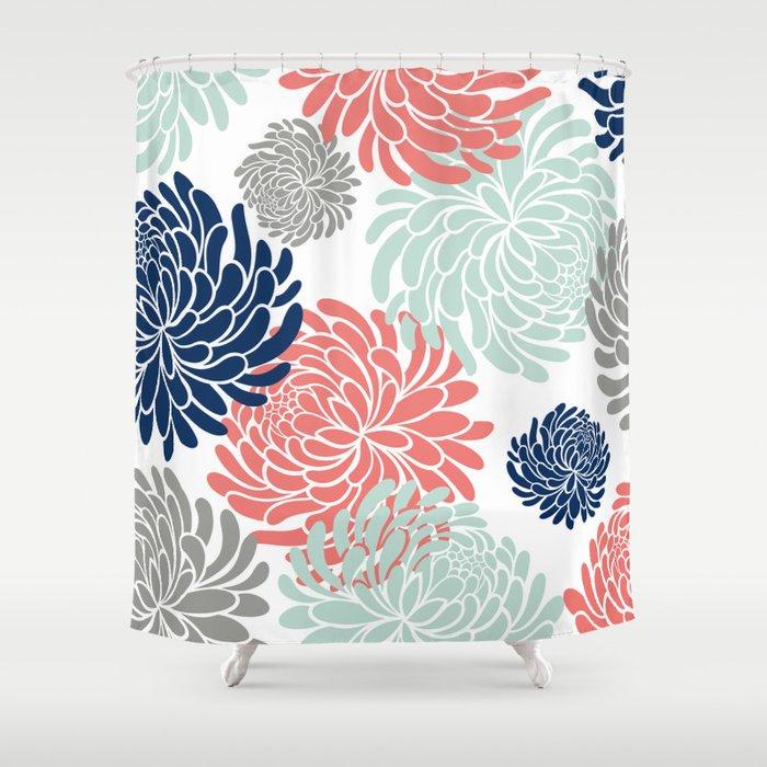 Floral Chrysanthemums Coral Pink Aqua Navy Blue Shower Curtain