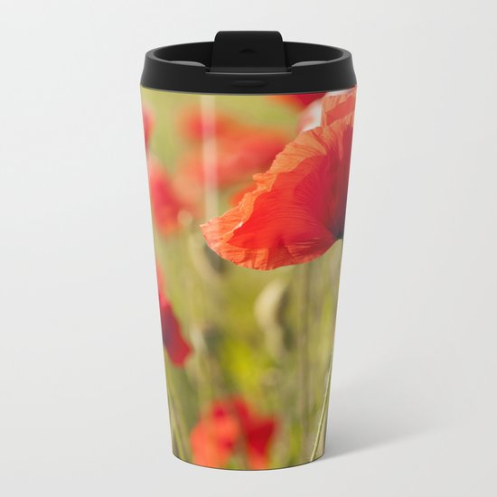 Romantic Poppy field Metal Travel Mug