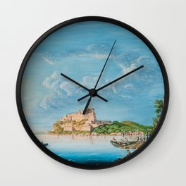 Antique Painting of Naples, Italy Wall Clock