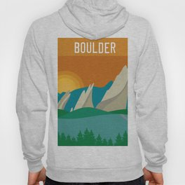 Boulder, Colorado - Skyline Illustration by Loose Petals Hoody
