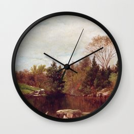 Spring A Study On The Bronx At Mt Vernon 1873 By David Johnson | Reproduction | Romanticism Landscap Wall Clock