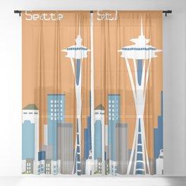 Seattle, Washington - Skyline Illustration by Loose Petals Sheer Curtain