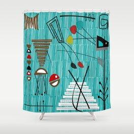 Mid-Century Tiki Tok Shower Curtain