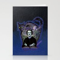 edgar allan poe Stationery Cards featuring Edgar Allan Poe Gothic by Scott Jackson Monsterman Graphic