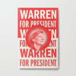 Warren For President - Red Metal Print