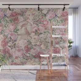 Romantic Flower Pattern And Birdcage Wall Mural