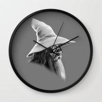 gandalf Wall Clocks featuring Gandalf by erintquinn