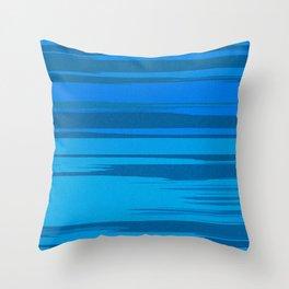 Blue Sea Abstract Cloud Stripes Throw Pillow