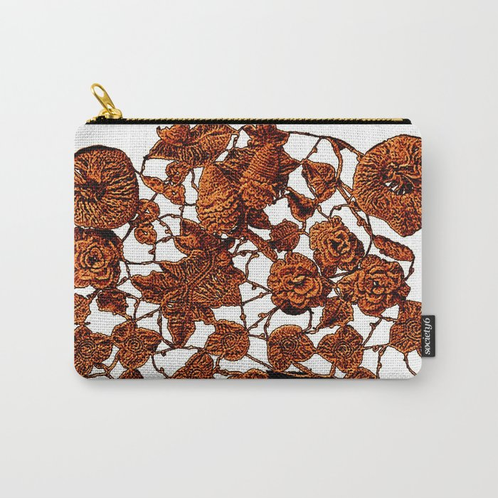 copper embroidery on black and white Carry-All Pouch