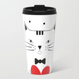 Cat with heart Travel Mug