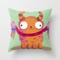icecream Throw Pillows featuring Icecream monster by Maria Jose Da Luz