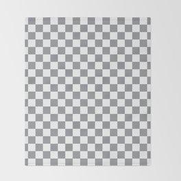 Grey Checkerboard Pattern Throw Blanket