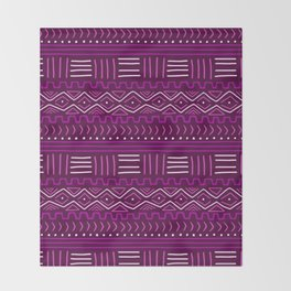 Mudcloth in Pinks Throw Blanket