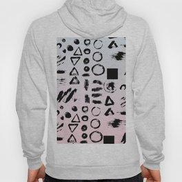 Blush pink gray black paint brushstrokes shapes gradient Hoody