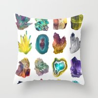 crystals Throw Pillows featuring Crystals by ShannonPosedenti