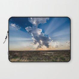 Explosion - Sunbeams Burst From Behind Storm Cloud in Kansas Laptop Sleeve
