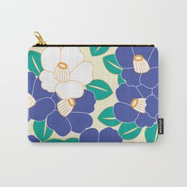 Japanese Style Camellia - Blue and White Carry-All Pouch