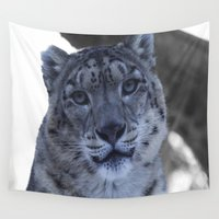 snow leopard Wall Tapestries featuring A Snow Leopard Stare by tobyc5