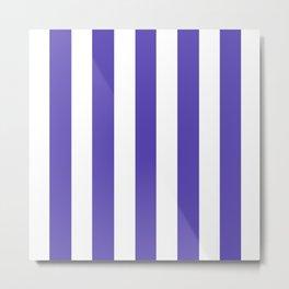 Plump Purple - solid color - white vertical lines pattern Metal Print