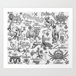 ZODIAC CANVAS CALLIGRAPHY Art Print