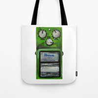 "u2 Tote Bags featuring Ibanez TS-9 Tube Screamer Guitar Pedal acrylics on 5"" x 7"" canvas board by James Peart"