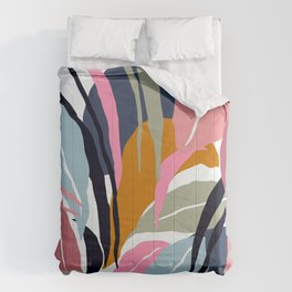 Tropical Leaves In Contemporary Modern Art Designs Comforters