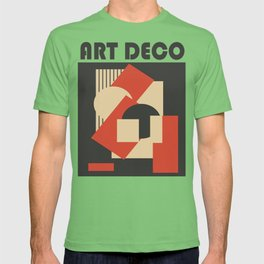 Geometrical abstract art deco mash-up scarlet beige T-shirt