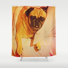 PUG LOVE: Will you bring me breakfast in bed? Shower Curtain