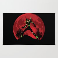 evangelion Area & Throw Rugs featuring Neon Genesis Evangelion Unit 01 - Hill Top by kamonkey