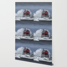 Grand Haven Lighthouse in a November Storm on Lake Michigan Wallpaper