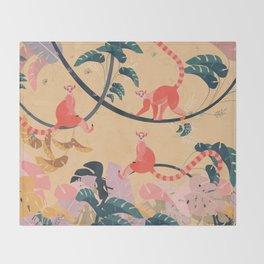 Lemurs in the jungle Throw Blanket