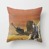 spawn Throw Pillows featuring Beware the beast Man, for he is the Devil's spawn by Michael Tunk