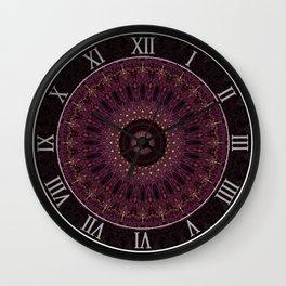 Mandala in dark purple and golden colors Wall Clock