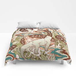 Jurassic Portal | Retro Rainbow Palette | Dinosaur Science Fiction Art Comforters