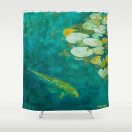 Serene koi lily pond Shower Curtain