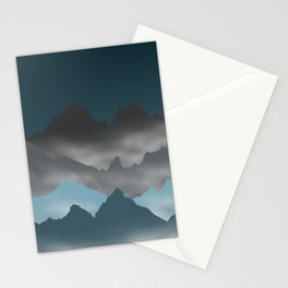 Blue Mountains and Mist Digital Illustration - Graphic Design Stationery Cards