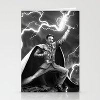 tesla Stationery Cards featuring Tesla: God of Thunder by The Cracked Dispensary