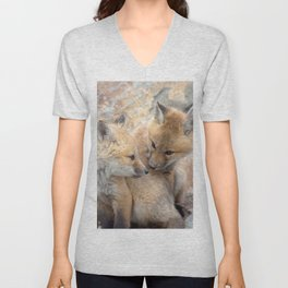 Watercolor Fox, Red Fox 51, Union Reservoir, Boulder Unisex V-Neck