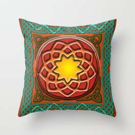 Celtic Knotwork panel in Persian Green Throw Pillow