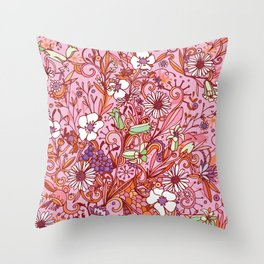 Daisy and Bellflower pattern, pink Throw Pillow