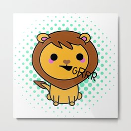 Aki the Ferocious Kawaii Lion Metal Print