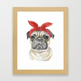 Pug with a Red Bandana Watercolor Framed Art Print