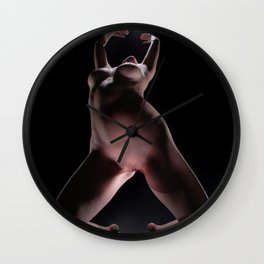 8633-LP Sensual Fine Art Nude Woman on Her Knees Reaching for the Light Wall Clock