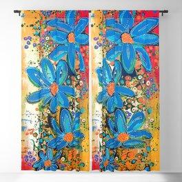 Flower Power Vibrant Blue Daisies Blackout Curtain