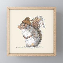Squirrel with an Acorn Hat Framed Mini Art Print