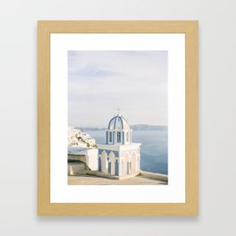 Pastel Blue Church Framed Art Print