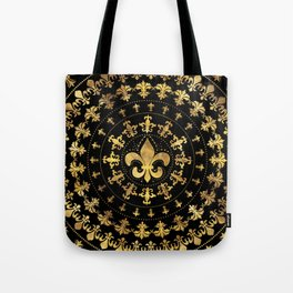 Fleur-de-lis - circular ornament - Gold and black Tote Bag